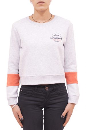 weridelocal crop crewneck grey orange mountain