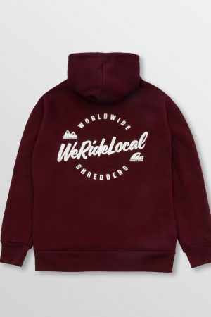 WeRideLocal_Script_Maroon_Back_cotton_zipped_hoodie_FW19