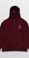 WeRideLocal_Script_Maroon_Front_cotton_zipped_hoodie_FW19