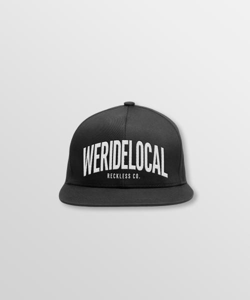 Weridelocal_Status_Snapback_Cap_Black_unisex_street_athletic_SS19_Front