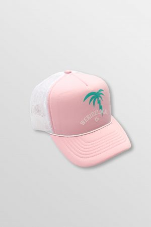 Weridelocal_Palmy_Voltage_Baby_Pink_Trucker_Cap_Hat_unisex_street_athletic_SS19_Front