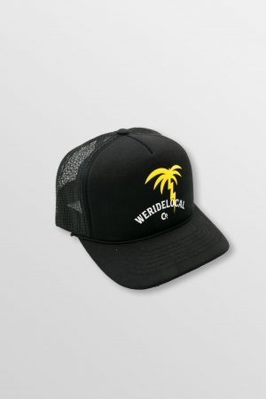 Weridelocal_Palmy_Voltage_Black_Trucker_Cap_Hat_unisex_street_athletic_SS19_Front