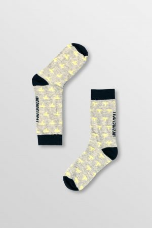 Weridelocal_Palmy_Voltage_Socks_Yellow_Grey_Melange_Banana_Cotton_unisex_street_athletic_SS19