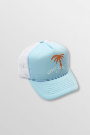Weridelocal_Palmy_Voltage_Baby_Blue_Trucker_Cap_Hat_unisex_street_athletic_SS19_Front