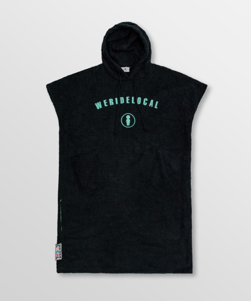 Weridelocal_Rider_Black_Towel_poncho_hoodie_waterwear_cotton_athletic_Kite_surf_kitesurf_wakeboard_sup_windsurf_beach_portable_changing_room_SS19_Front