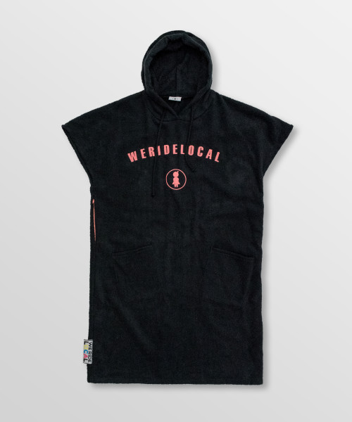 Weridelocal_Rockastar_Black_Towel_poncho_hoodie_waterwear_cotton_athletic_Kite_surf_kitesurf_wakeboard_sup_windsurf_beach_portable_changing_room_SS19_Front