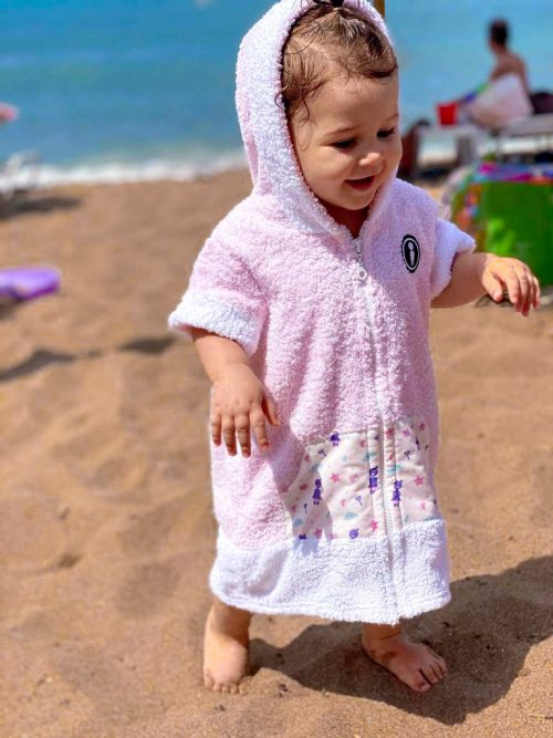 baby surf poncho pink it's a girl