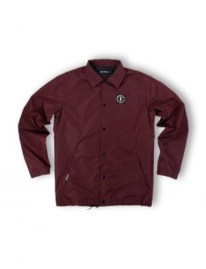 coach jacket logo burgundy windproof waterproof streetwear fw21