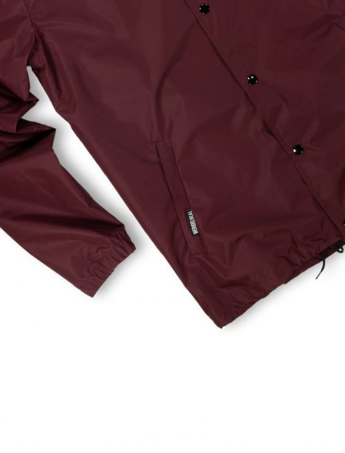 coach jacket logo burgundy windproof waterproof streetwear fw21 details
