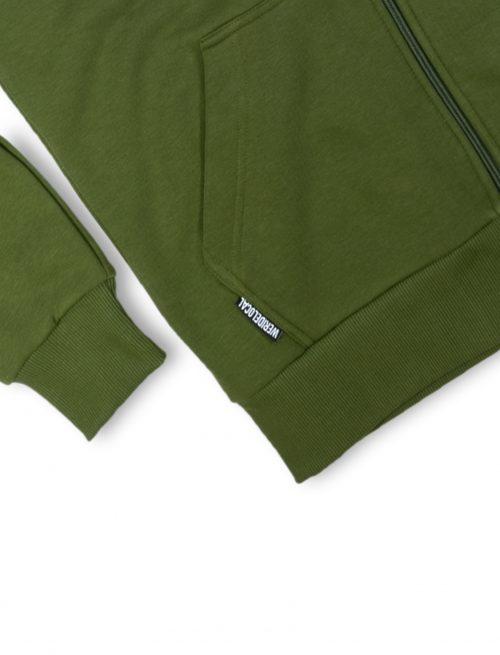 fella olive zipped hoodie details fw21