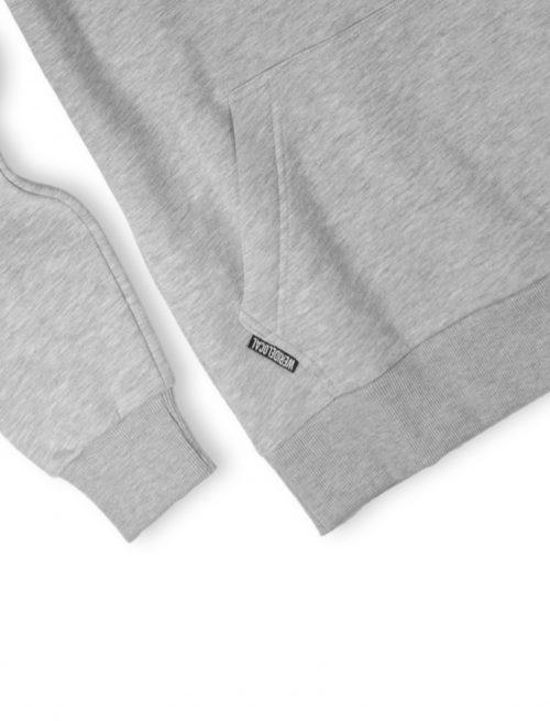 grey logotype logo hoodie details