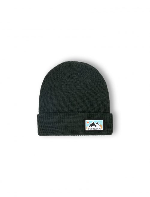 mountain life forest green patch woven beanie fw21