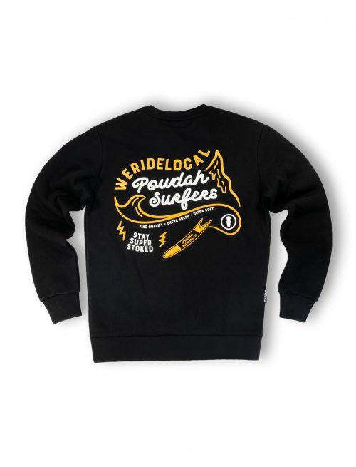 powdah surfers black crewneck fw21 streetwear