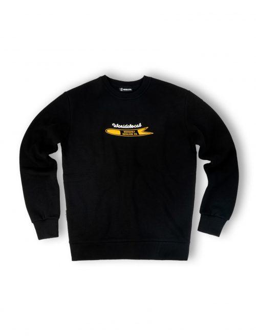 powdah surfers black crewneck fw21 streetwear front