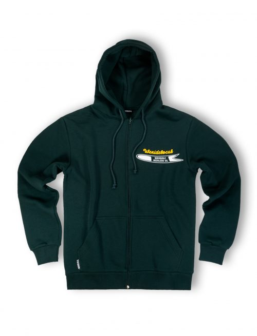 powdah surfers forest green zipped hoodie front