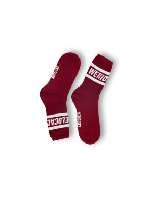 statement burgundy cotton unisex socks