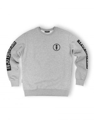 union grey melange crewneck logo print sleeve fw21