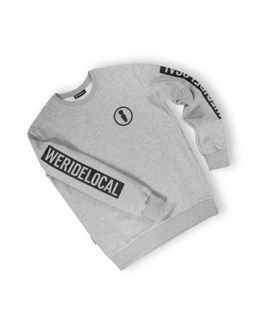 union grey melange crewneck logo print sleeve fw21 detail