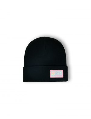 yes yeti black embroidered woven beanie fw21