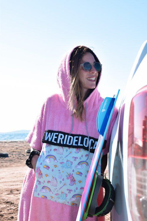 heartbreaker pink surf kite poncho beachwear unicorn