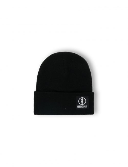 emblem black beanie we ride local logo