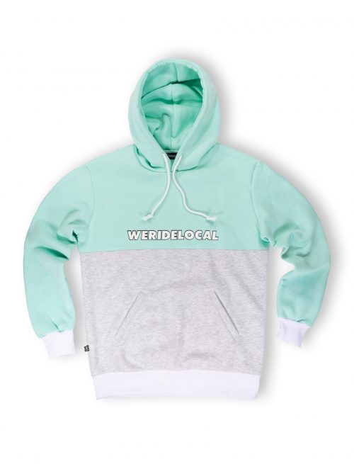 tf mint grey melange hoodie streetwear unisex
