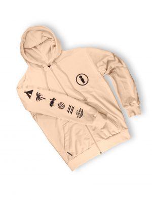cream light zipped hoodie streetwear weridelocal ss21 symbols