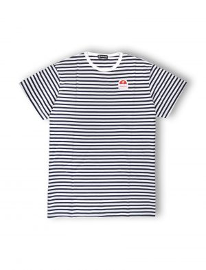 hola navy blue stripes oversized tee women tshirt ss21 palm patch