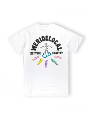 we ride local white tee tshirt defying gravity pastel colors cloud surf