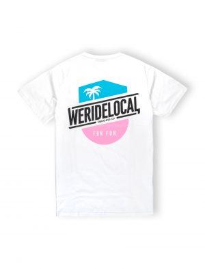 we ride local funbadge white tshirt pink