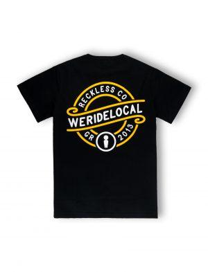 we ride local emblem black logo graphic black tshirt